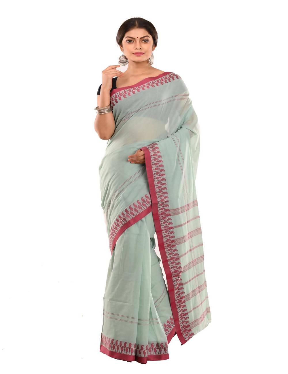 Bengal Handloom Mint Green Cotton Tant Saree