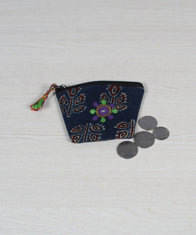 Lambani Embroidery Coin Pouch in Navy Blue