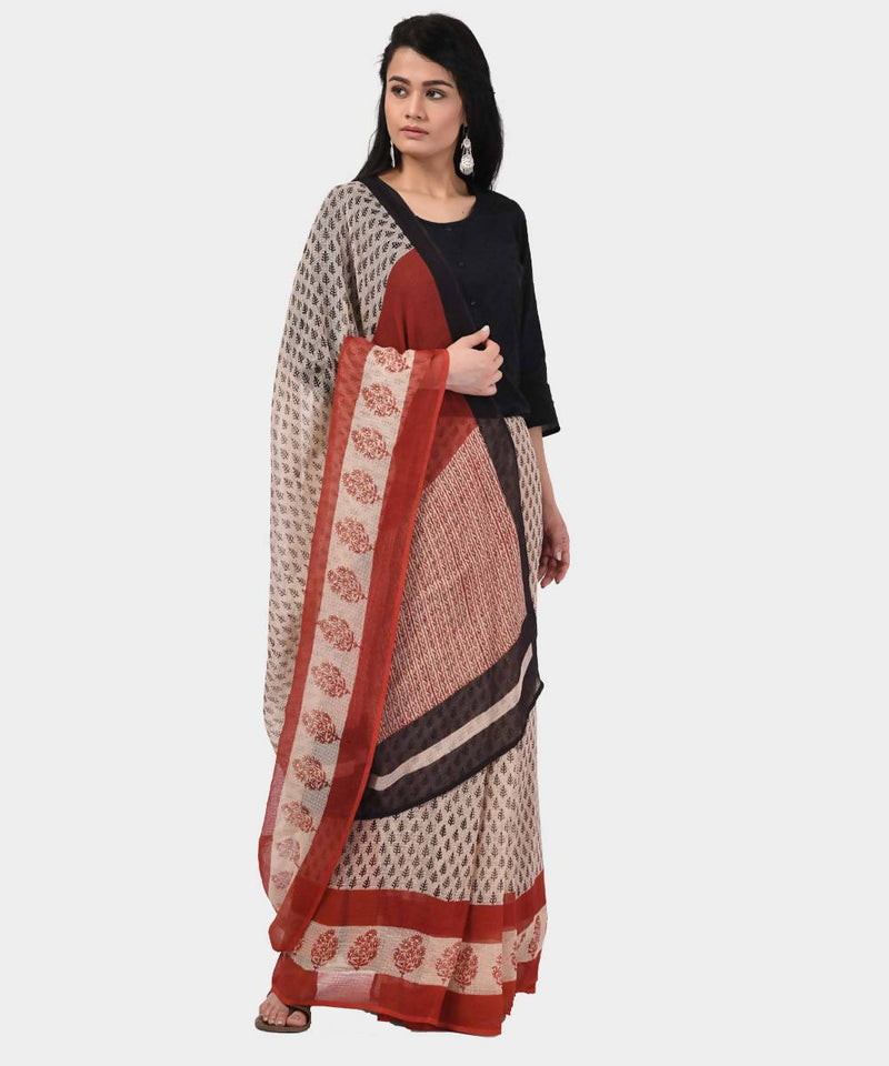 Bagru HAnd Block Printed Kota Cotton Saree