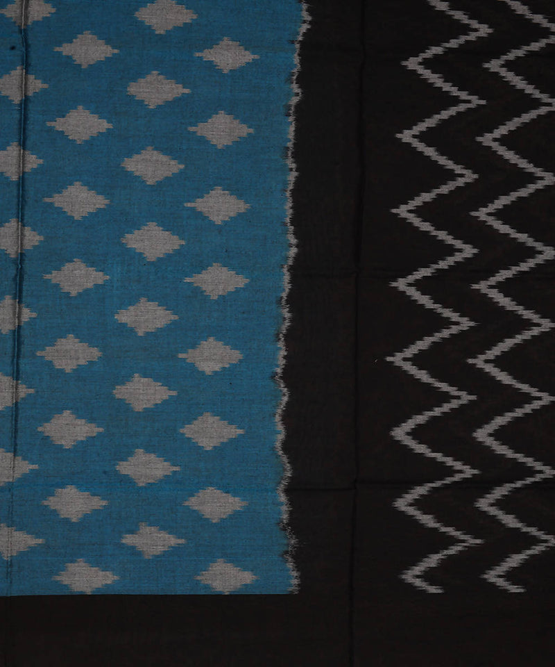 Blue and black Handwoven Pochampally ikat cotton Dupatta