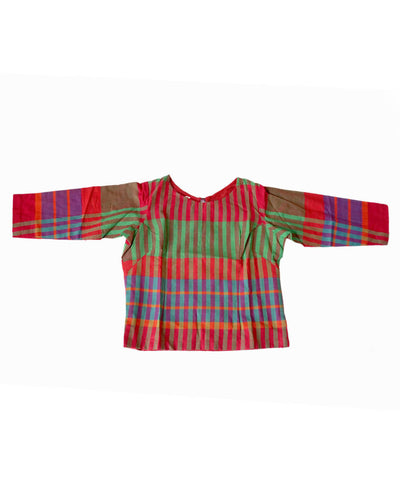 Gamcha Checks Cotton Multicolor Handwoven Crop Top Blouse