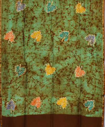 Green Brown Batik Printed Maheshwari Dupatta