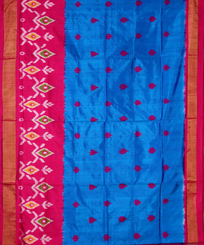 Handloom Pochampally Ikat Sky Blue Silk Saree