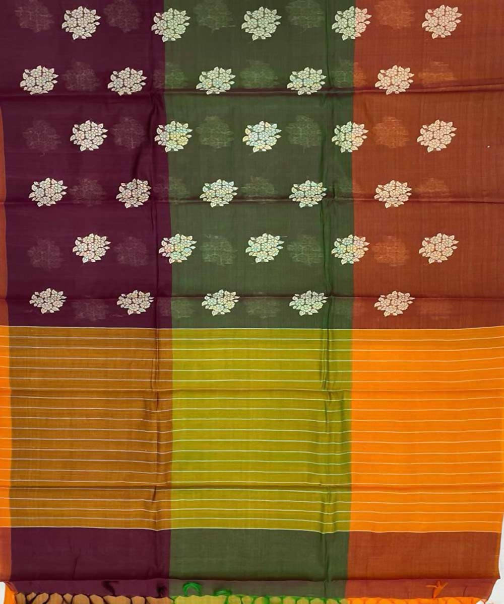 Rust orange handwoven buta tussar silk saree