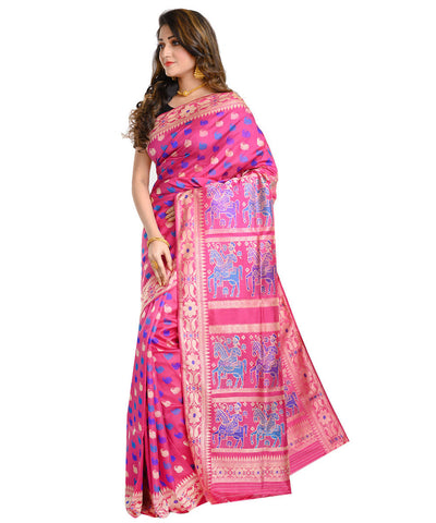 Pink handwoven baluchari mulberry silk saree