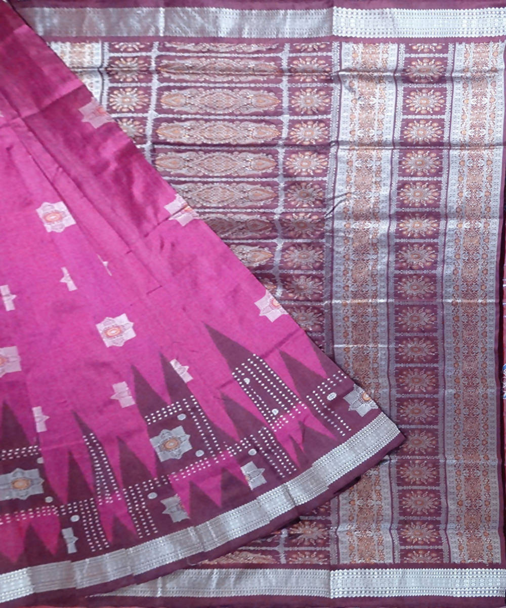 Deep crimson glory bomkai handloom silk saree