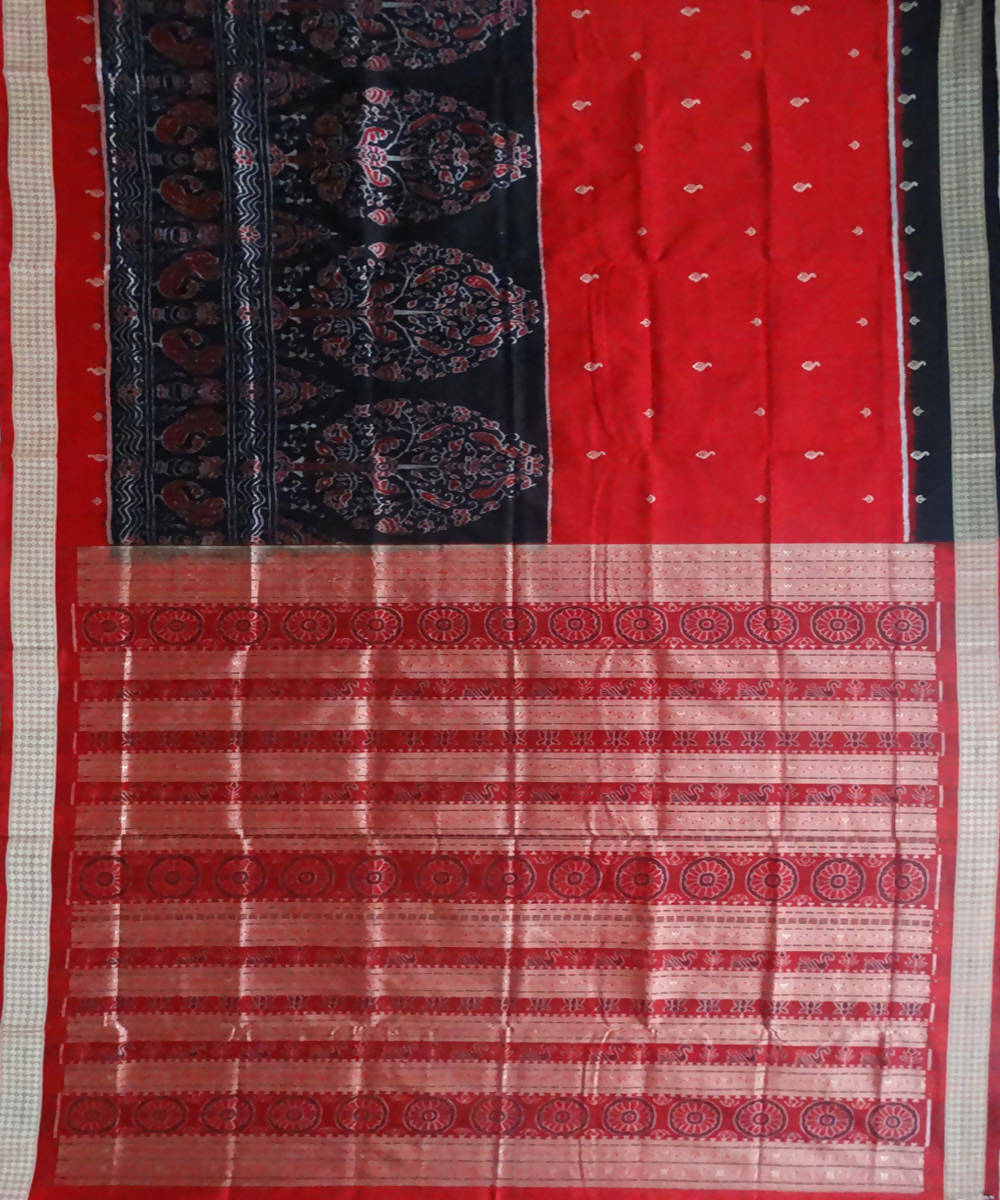 Black Red Sambalpuri Ikat Silk Handloom Saree