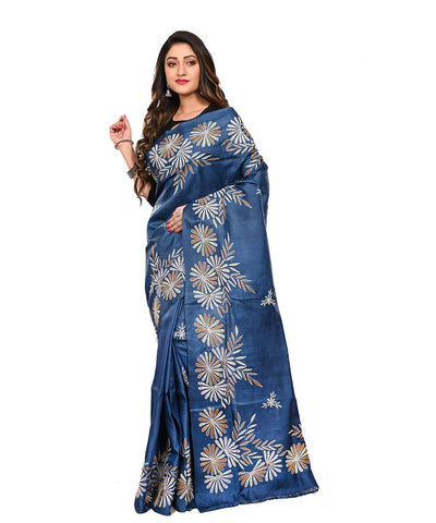 Dark Blue Handloom Kantha Stitch Tussar Saree