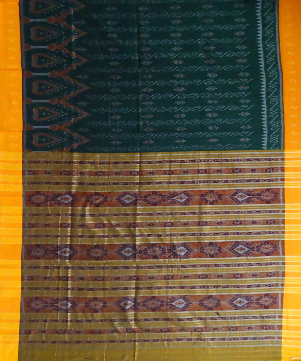 Nuapatna Bottle Green Handwoven cotton Saree