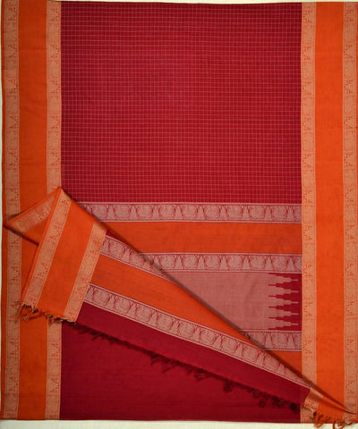 Arakku Red Handloom Kanchi Cotton Saree