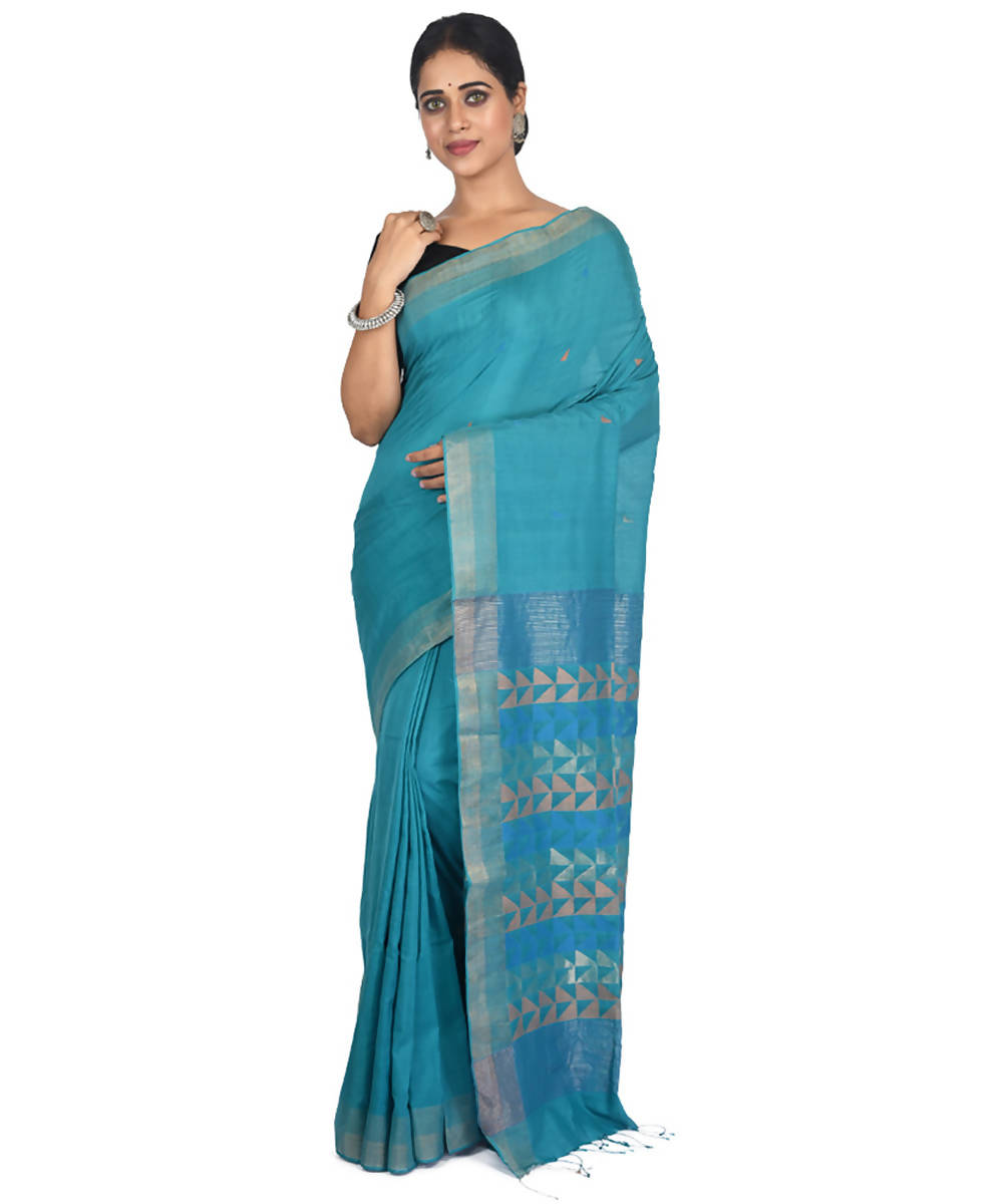 Light blue handwoven bengal cotton silk saree