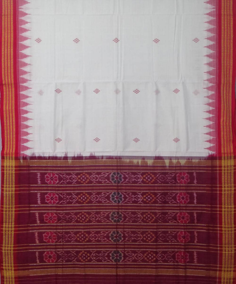 Handwoven offwhite maroon bomkai cotton saree