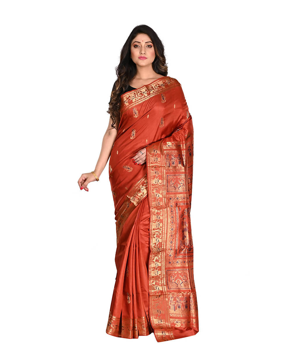 Bengal Handloom Baluchari Silk Rust Saree