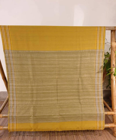 Yellow assam handloom cotton and ghiccha saree