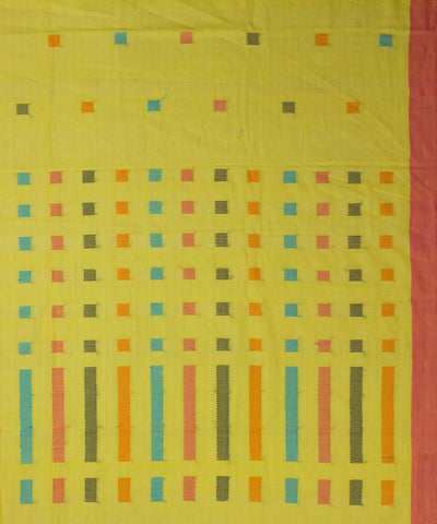 yellow cotton handloom saree