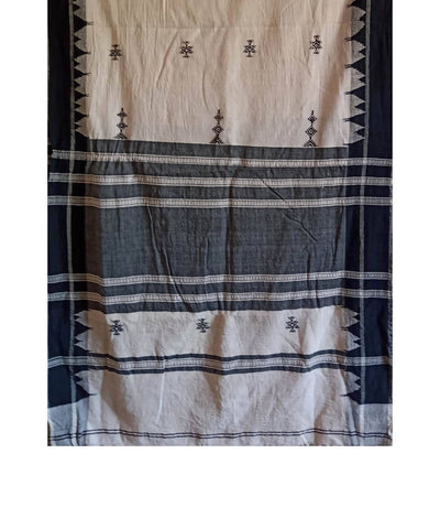Off White Handwoven Cotton Natural Dyed Kotpad Stole