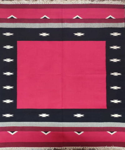 Red Handloom Interlock Cotton Dhurrie