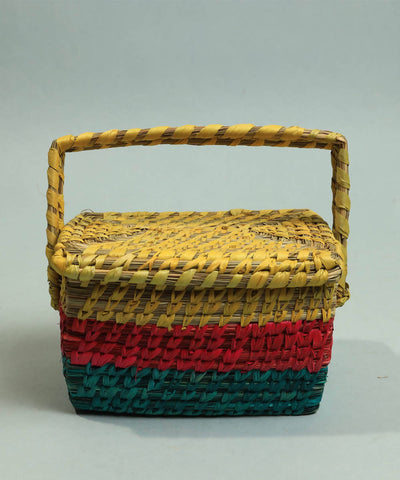 Multicolor handcrafted golden grass perfume box