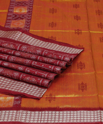 Golden Red Handwoven Bomkai Silk Saree