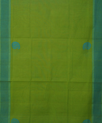 Parrot Green and Sky Blue Salem Handloom Cotton Saree