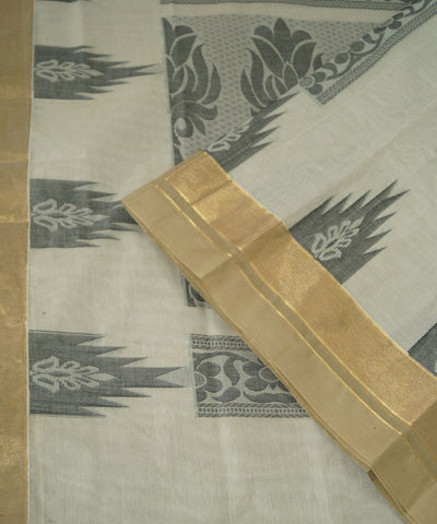 Off White Salem Handloom Cotton Saree