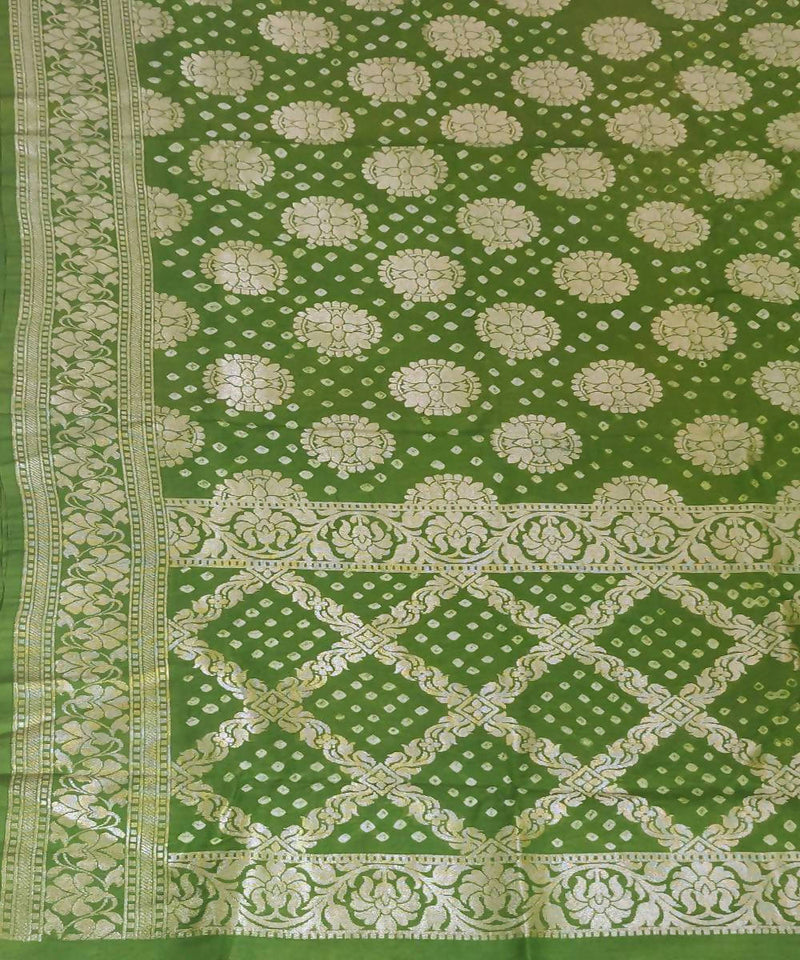 Light Green Handprinted tie dye Bandhani Silk Saree