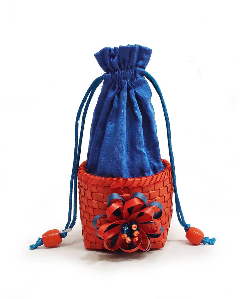 Blue handmade Small palm leaf box surukku bag