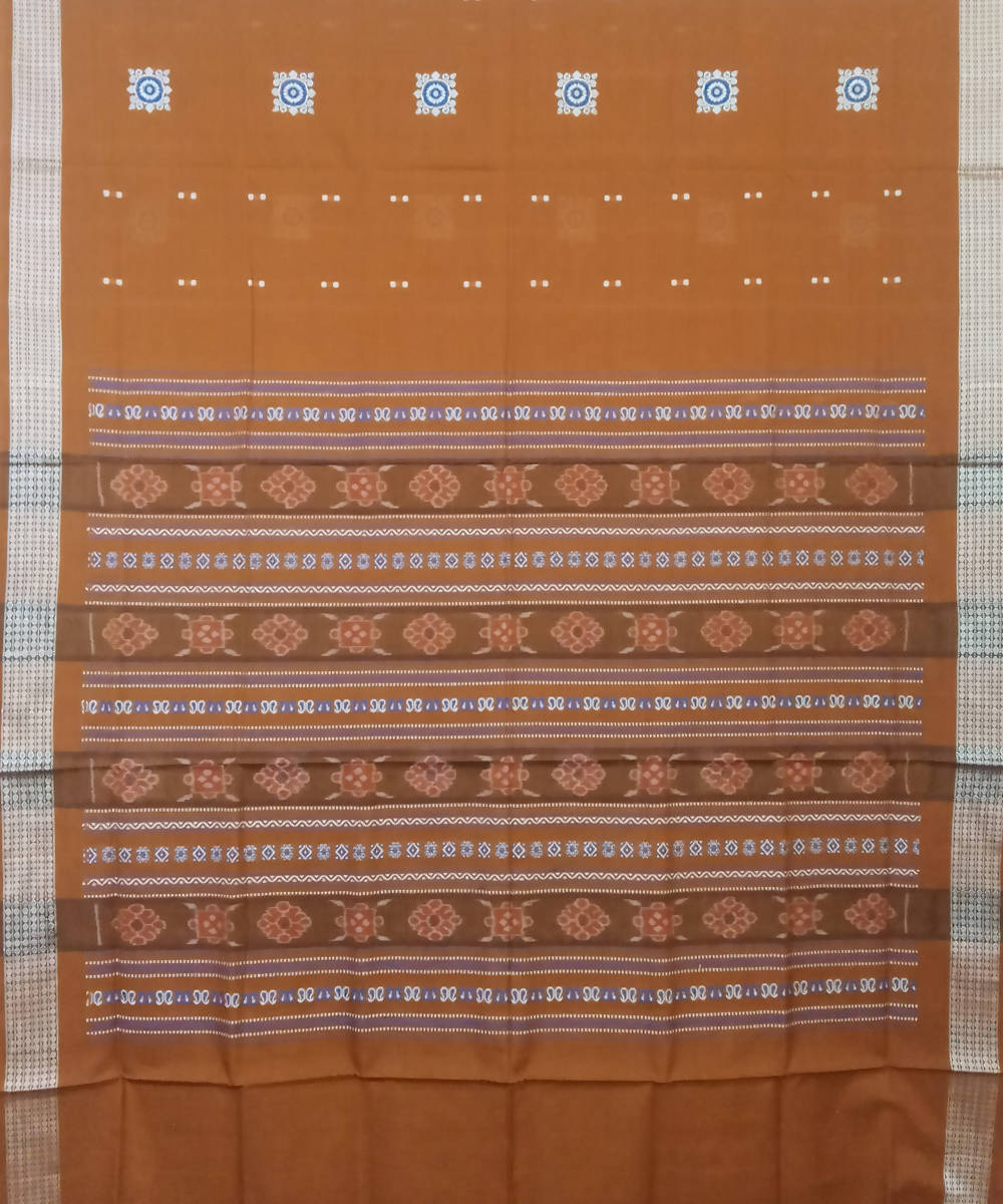 Copper Brown Handloom Bomkai Cotton Saree