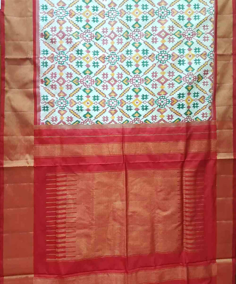 Cream with red handloom ikkat silk pochampally saree
