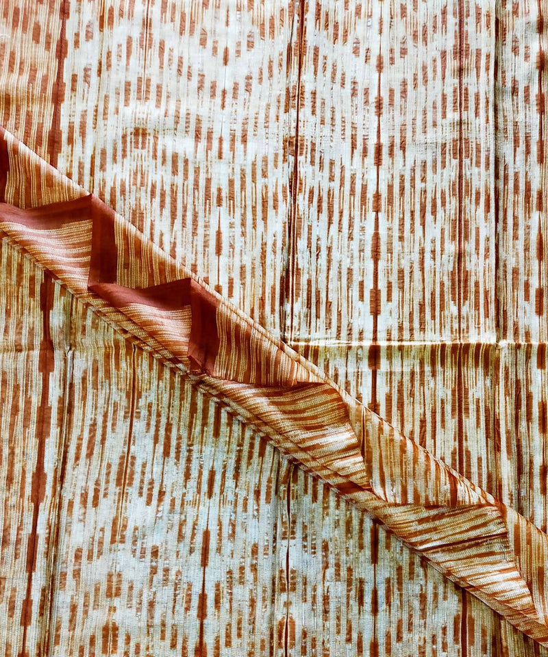 Shibori white and Brown Chanderi Kurta Fabric