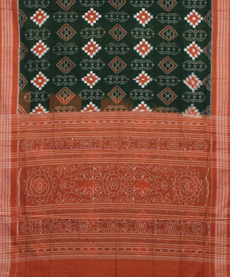 Green Coral Sambalpuri Handloom Cotton Saree