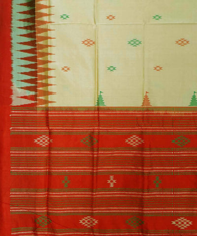 Beige Red Handwoven Bomkai Silk Saree