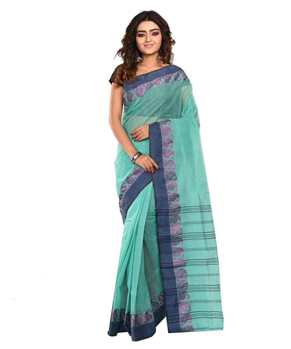 Blue Green Bengal Handloom Cotton Saree