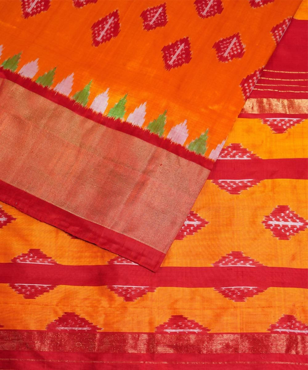 Orange red handwoven pochampally silk saree