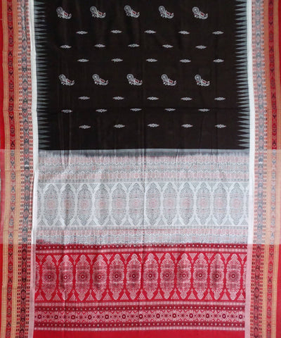 Dark Mauve Bomkai Handloom Cotton Saree