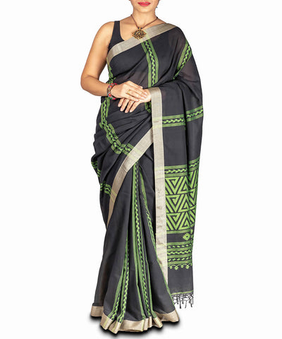 Black jamdani handspun handloom cotton saree
