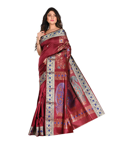 Bengal Handloom Burgundy Baluchari Silk Saree