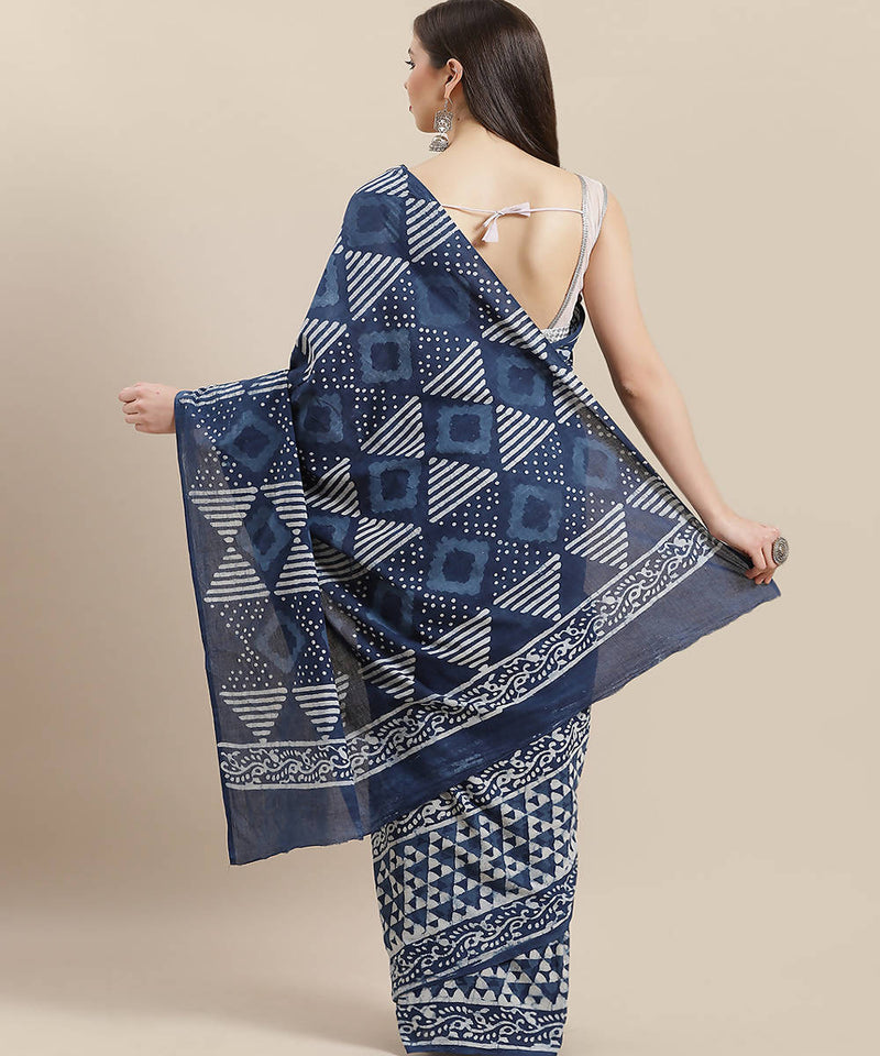 Indigo Hand Printed Cotton Saree