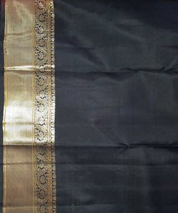Black Handwoven Gandaberunda Molakalmuru Silk Saree