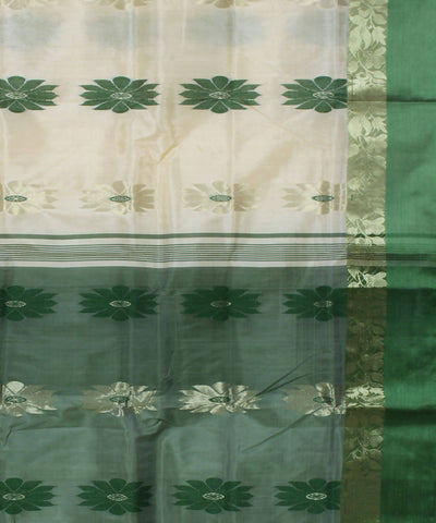 Handloom Off White Green Bengal Cotton Saree