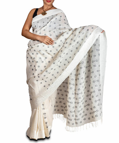 White Handspun Linen Silk Saree with Jamdani Buti & Designer Jacquard Border