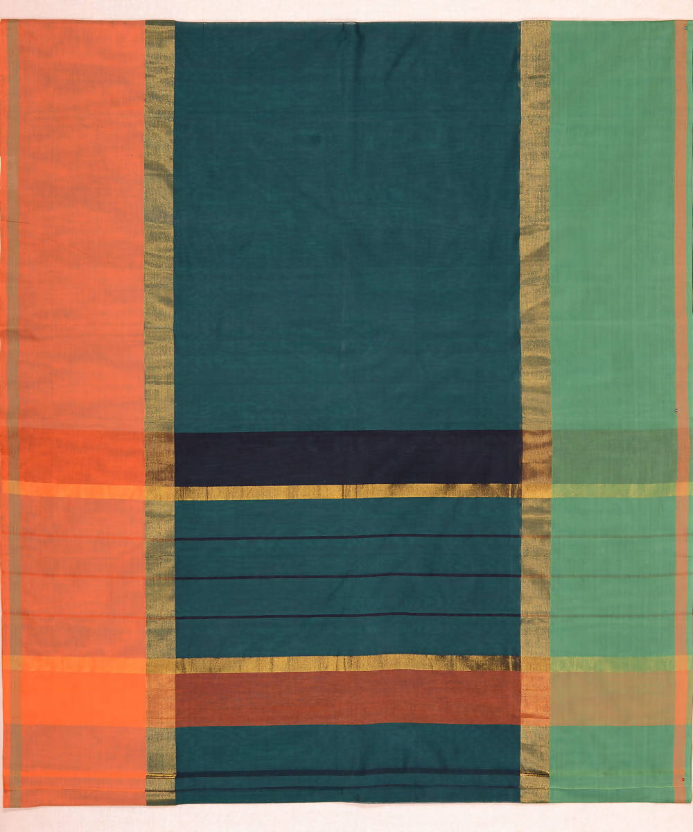 Mubbhagam Green Handloom Kanchi Cotton Saree