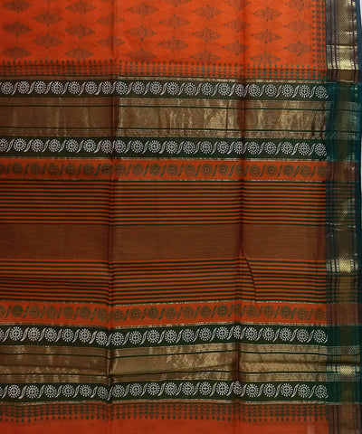 Maheshwari Fire Orange Handblock Printed Cotton Silk Saree