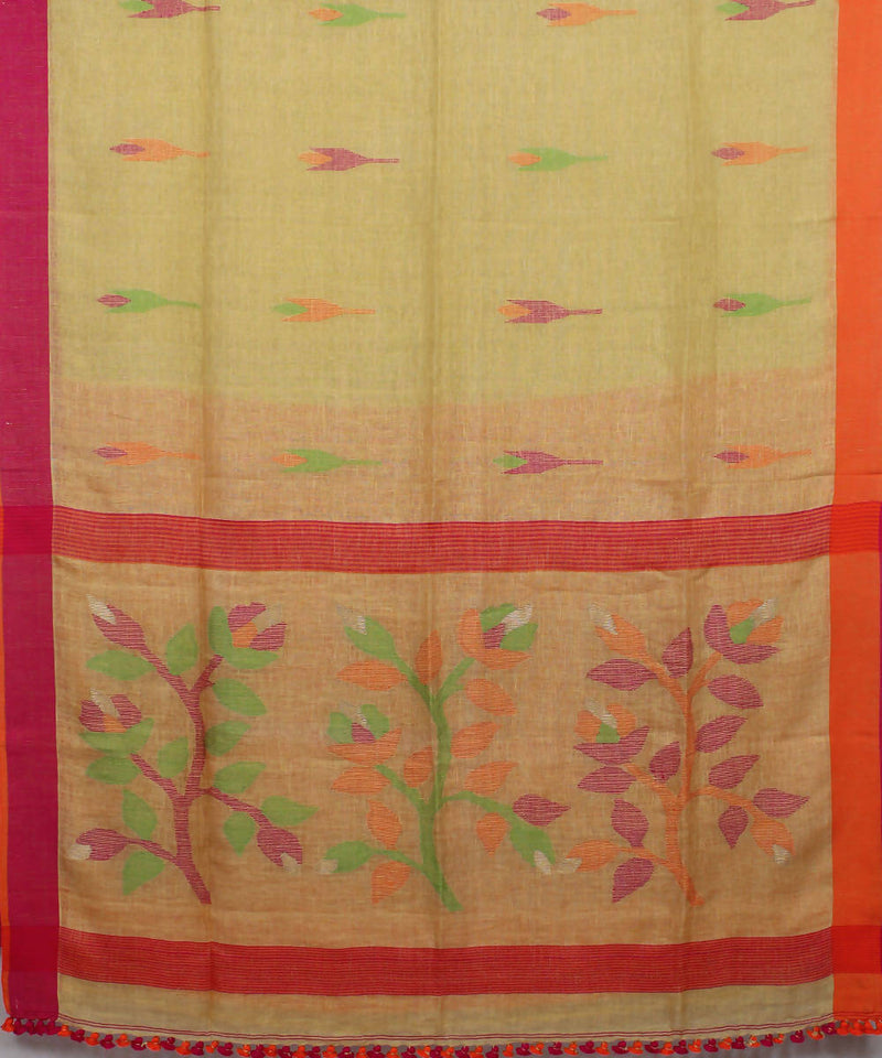 Bengal Handloom Yellow Linen Jamdani Saree