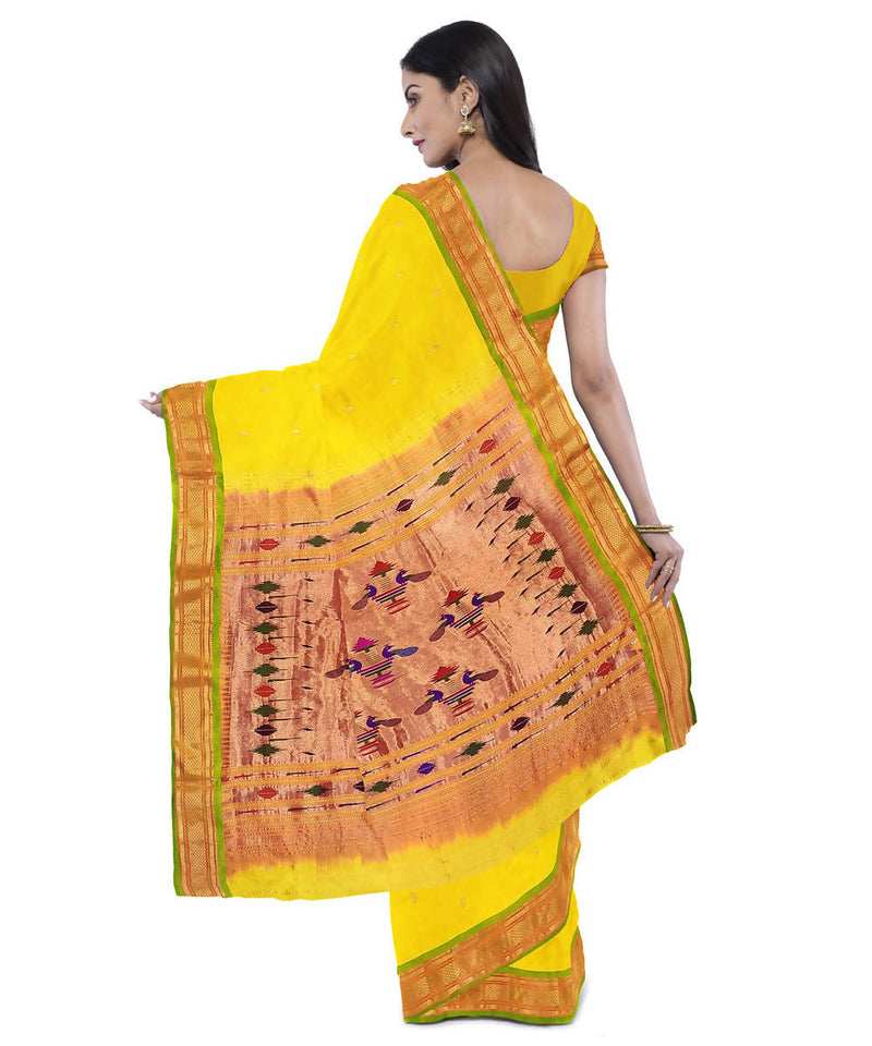 Yellow handwoven paithani silk saree