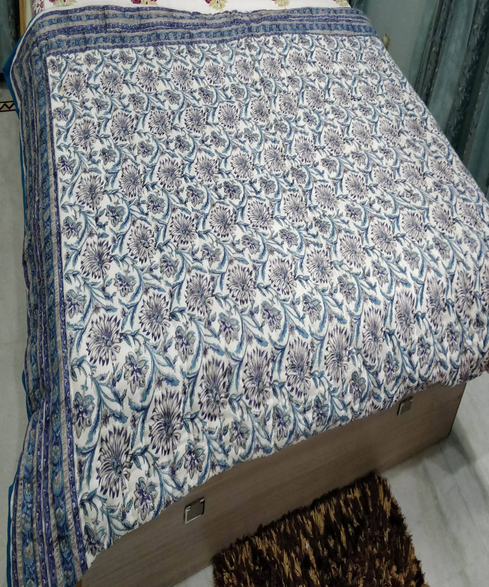 White Blue Handblock Printed Cotton Quilt