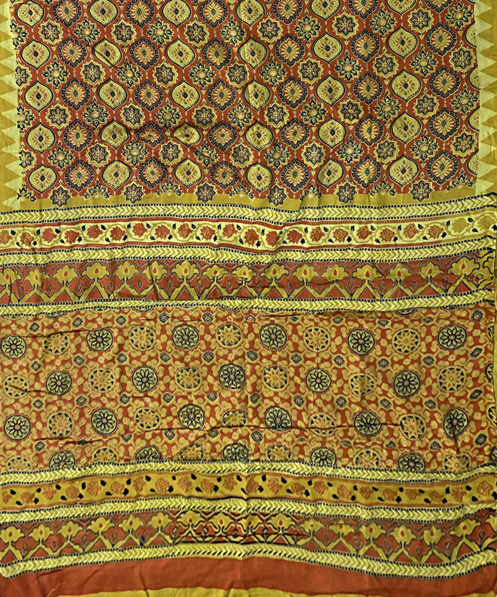 Yellow handblock print chanderi Silk saree