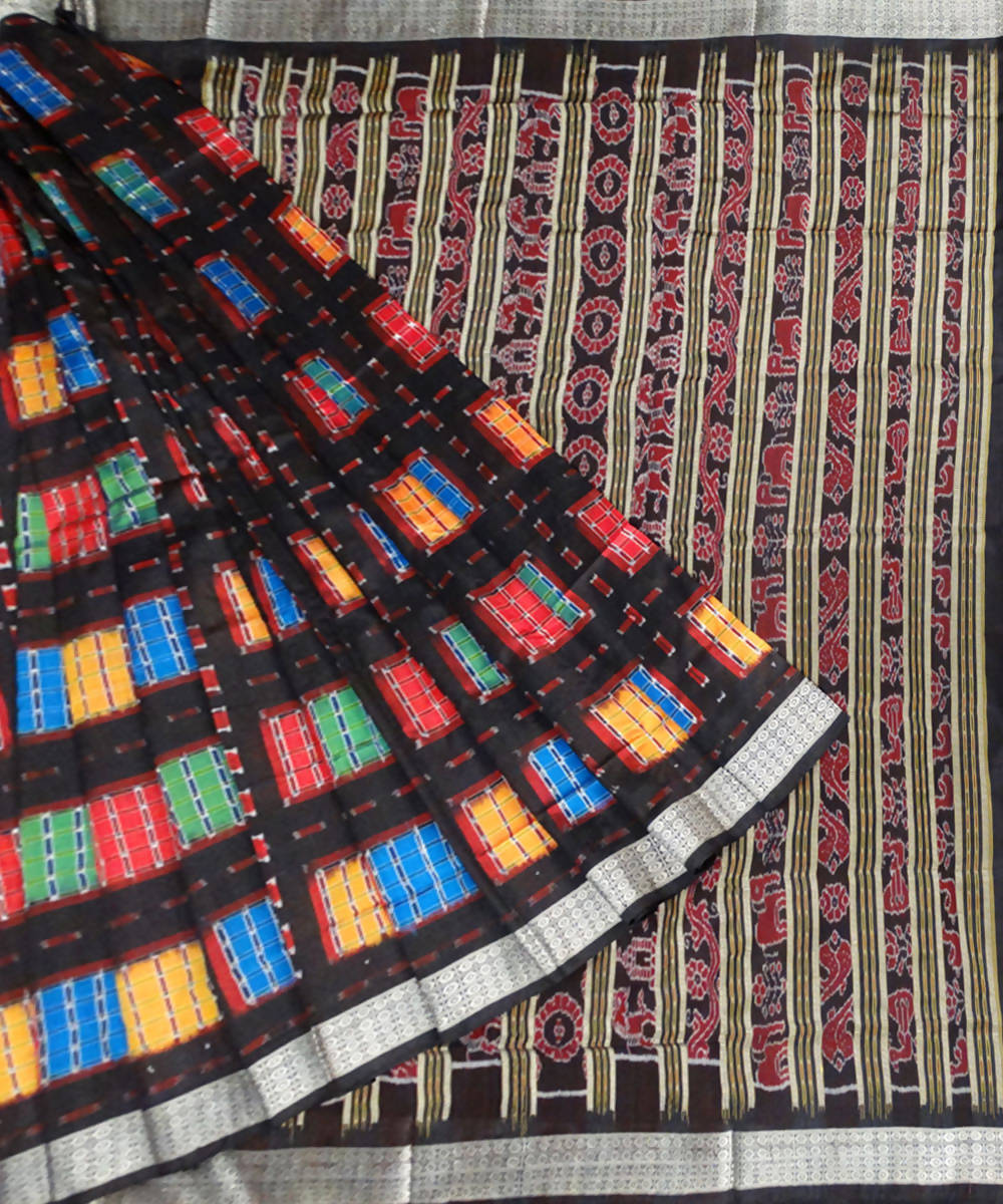 Black Aswini Sambalpuri Handloom Silk Saree