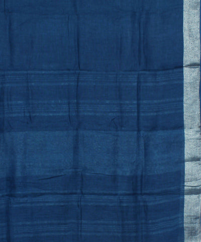 Dark Blue Handloom Linen Saree