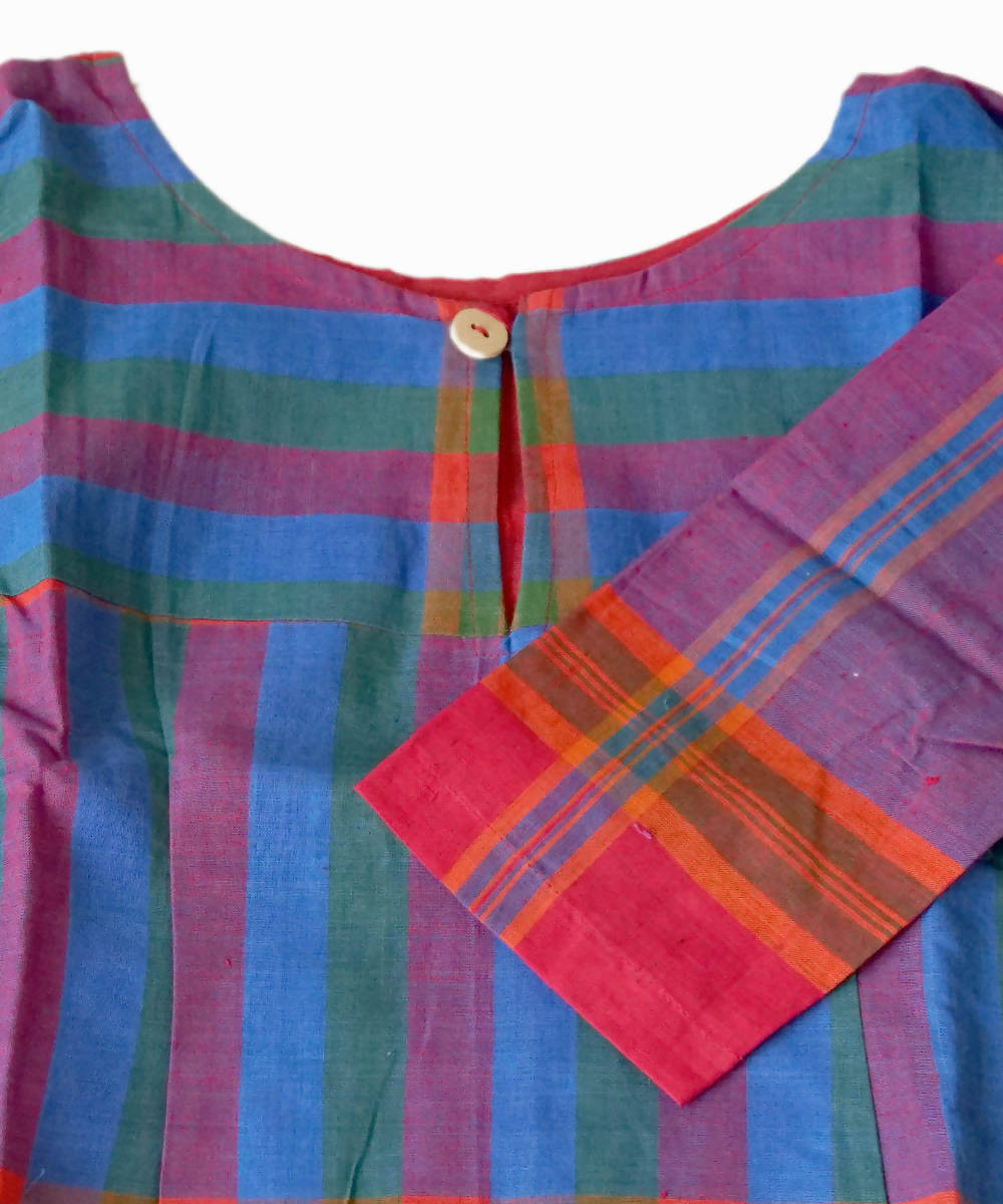Bright Blue Handloom Gamcha Checks Cotton Crop Top Blouse